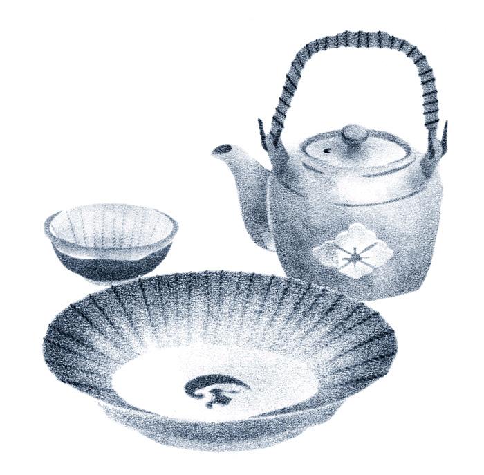 お皿・小鉢・急須のイラスト